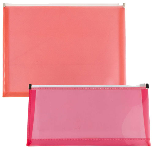 Red Plastic Envelopes with Zip Closure