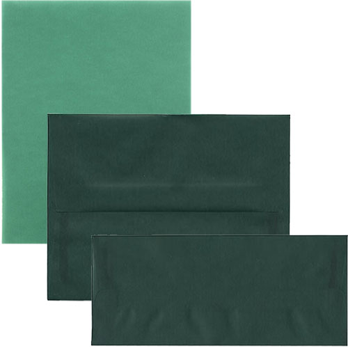 Racing Green Translucent Envelopes & Paper