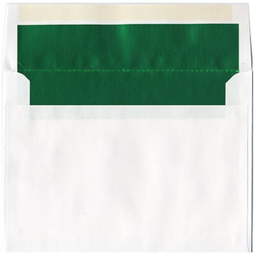 6x8 White with Green Foil Lined Envelopes