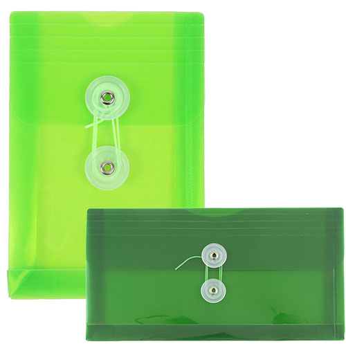 Green Plastic Button & String Closure Envelopes