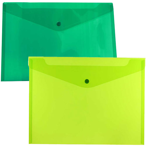 Green Plastic Envelopes with Snap Closure
