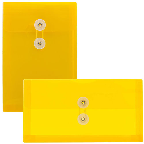 Yellow Plastic Button & String Envelopes