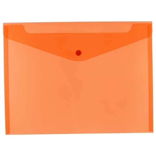 Orange Plastic Envelopes with Snap Closure