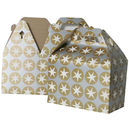 4 x 8 x 5 1/4 Silver & Gold with Stars Gable Box