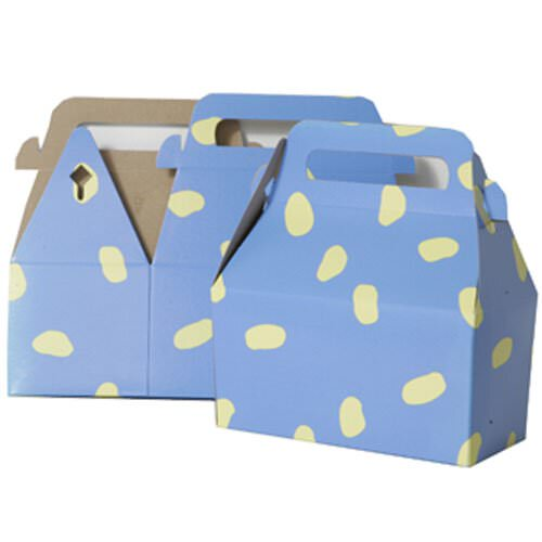 3 1/4 x 6 x 3 Blue with Yellow Spots Gable Box