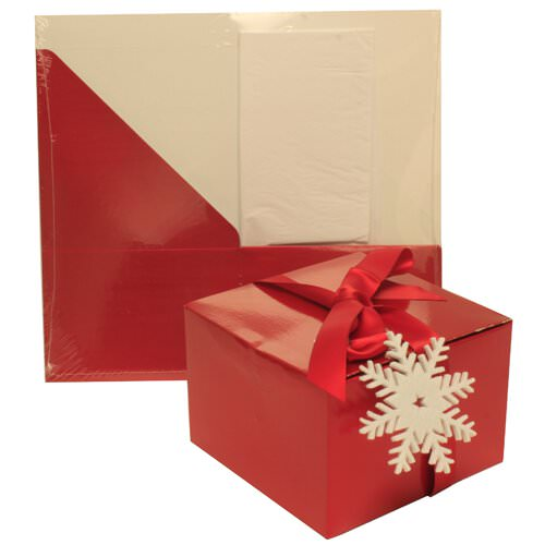 6x6x4 Red Glossy Box with Tissue Paper & Ribbon
