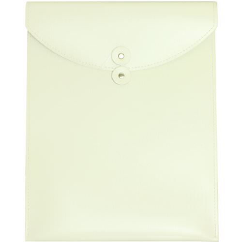 White Leather Button & String Closure Envelopes