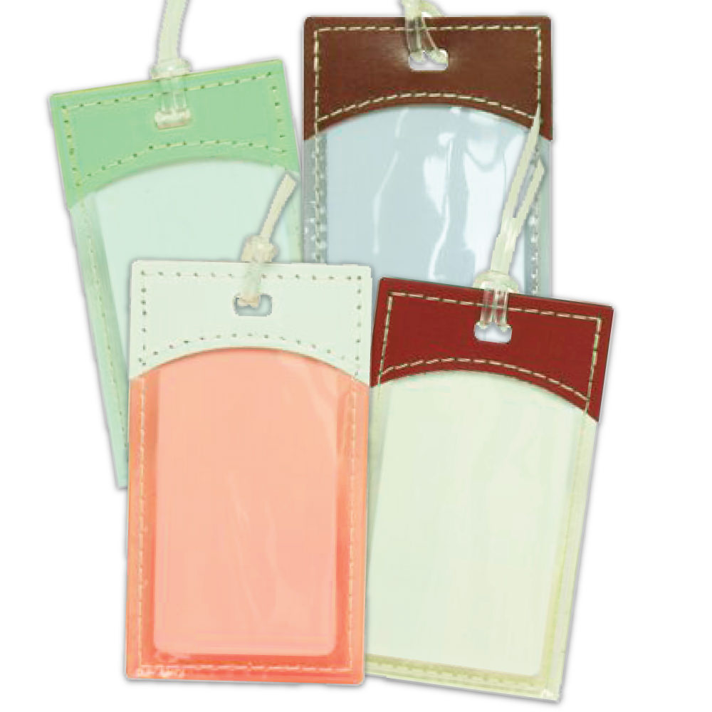 Plastic Gift Tags with Leather Trim