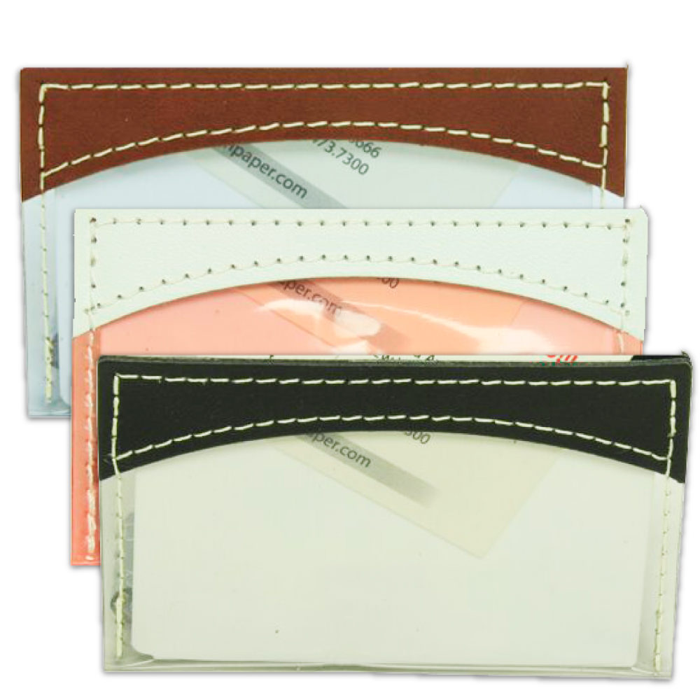 Plastic Business Card Holders with Leather Trim