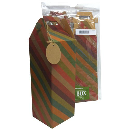 Recycled Stripe Wine Box with Tag- 4.8 x 4.8 x 17