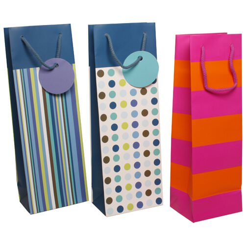 Striped and Dotted Wine Bags