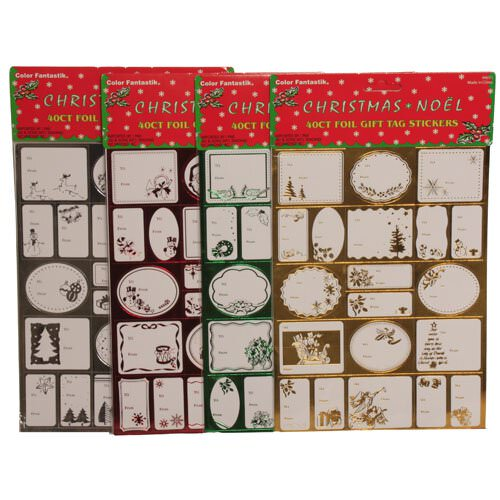 Foil Christmas Gift Tag Stickers - pack of 40