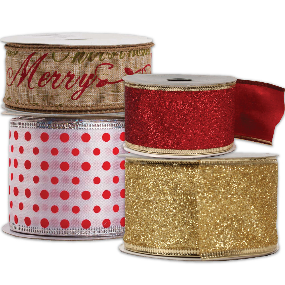 Wire Edged Christmas Ribbon