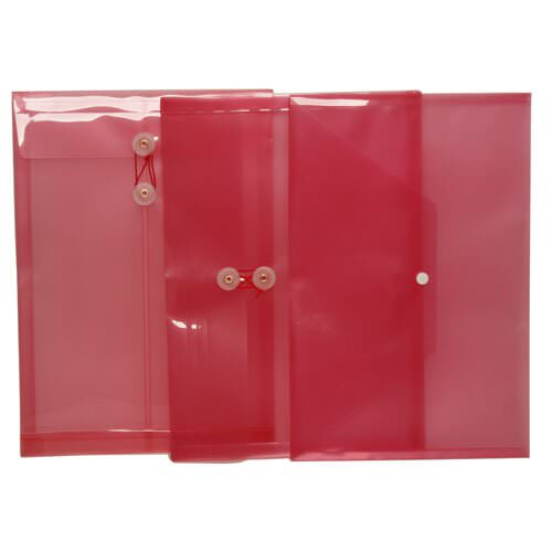 Red Legal Plastic Envelopes - 9.75x14.5