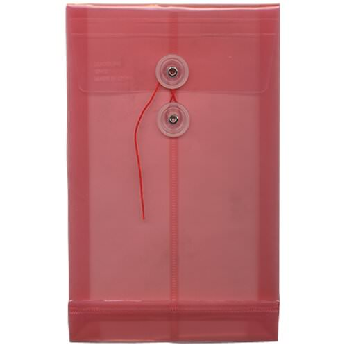 Pink 6 1/4 x 9 1/4 Plastic Envelopes