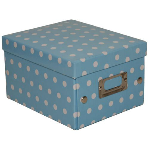 6 3/4 x 8 5/8 x 5 1/8 Baby Blue Small Dot Box