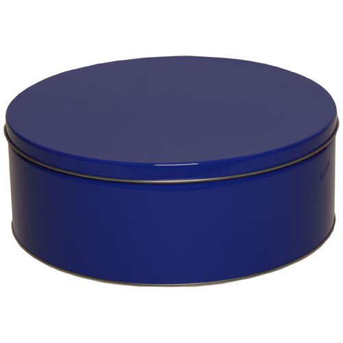 9 1/2 x 3 3/4 Large Round Blue Metallic Tin