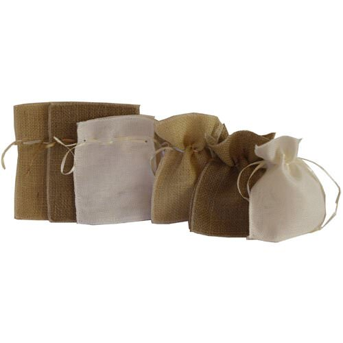 Recycled Natural Burlap Pouches