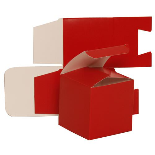 3 1/2 x 3 1/2 x 3 1/2 Red Glossy Gift Box