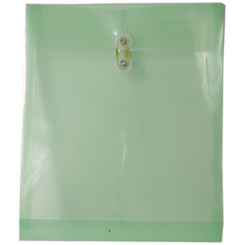 Green Letter OpenEnd Plastic Envelopes-9.75x11.75