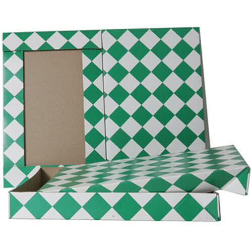 9 1/2 x 15 x 2 Green & White Diamond Box
