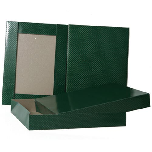 8 1/2 x 11 1/2 x 1 5/8 Green With Gold Dots Box