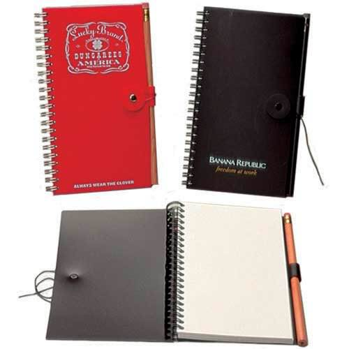 Custom Button & String and Snap Closure Notebooks