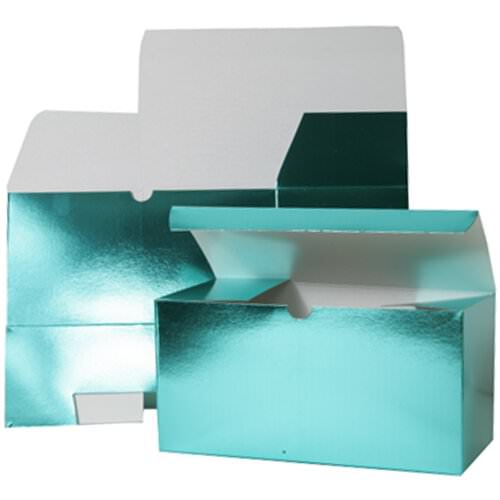 9 x 4 1/2 x 4 1/2 Teal Green Foil Gift Box
