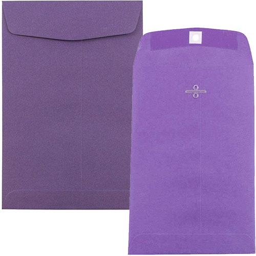 Purple Clasp & Open End Envelopes