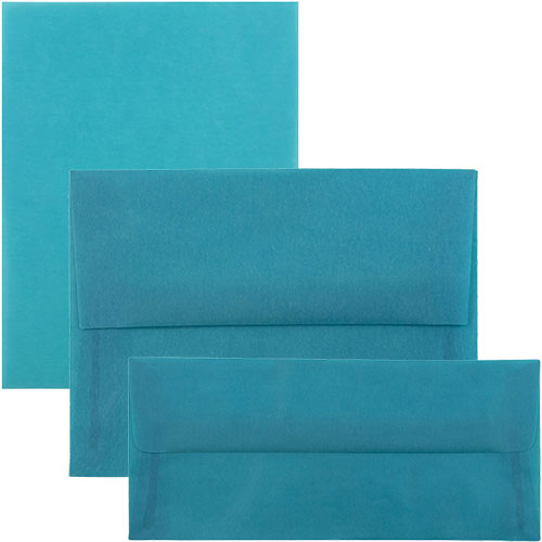 Aqua Translucent Envelopes & Paper