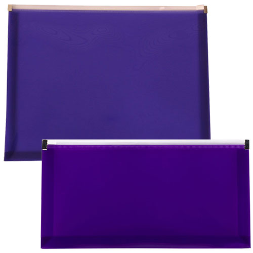 Purple Plastic Zip Closure Envelopes