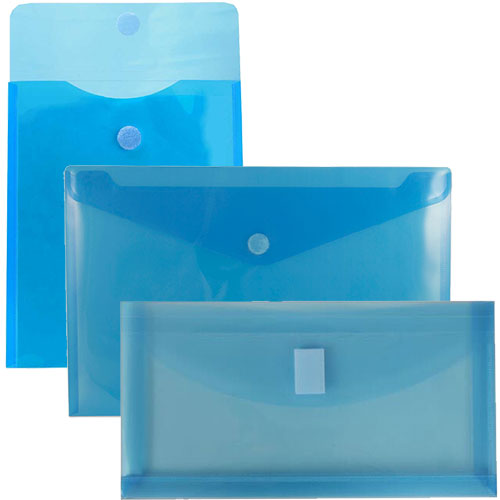 Blue Plastic Envelopes with VELCRO® brand Closure