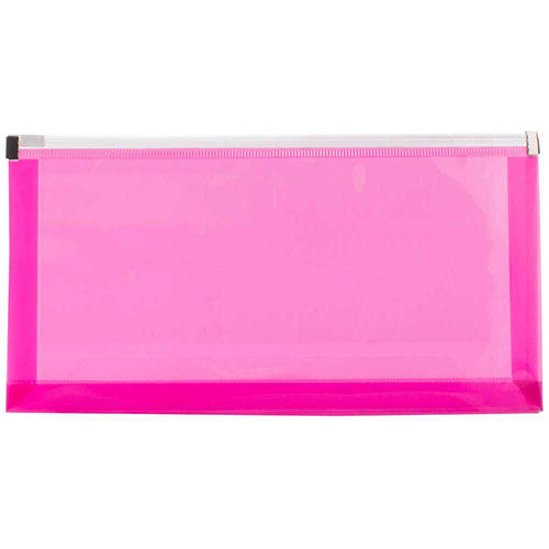 Pink Plastic Envelopes with Zip Closure
