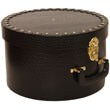 Black Crocodile Hat Box with Gold Studs & Handle