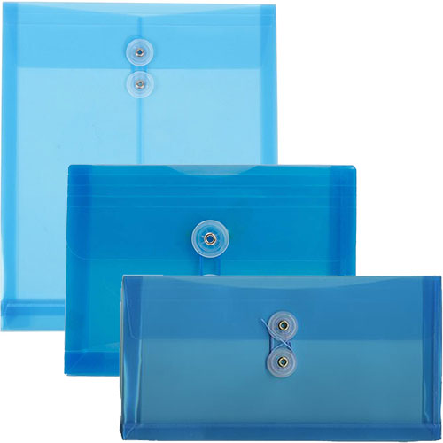 Blue Plastic Button & String Closure Envelopes