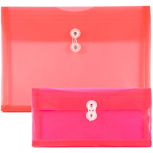 Pink Plastic Envelopes with Button String Closure