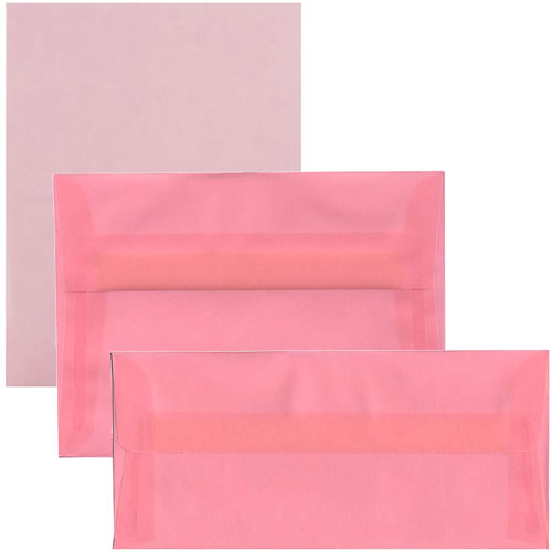 Pink Blush Translucent Envelopes & Paper