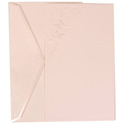 White Card Butterfly Design Flap Envelope Large Wedding Invitation Set