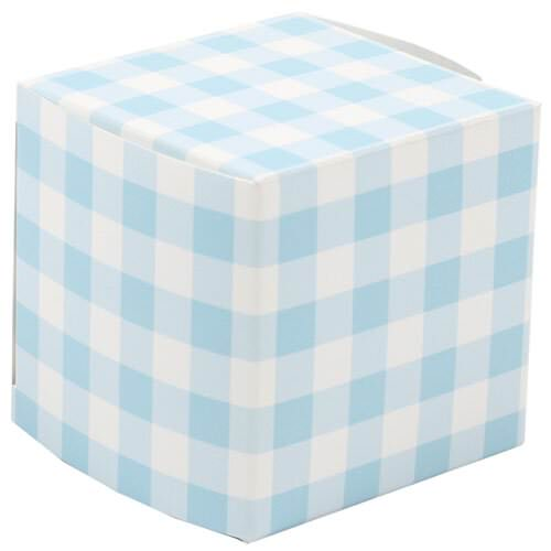 2 x 2 x 2 Blue Gingham Glossy Gift Box