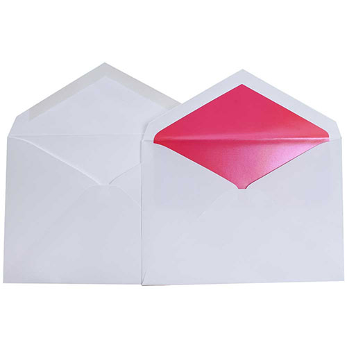 White Lined Wedding Envelopes