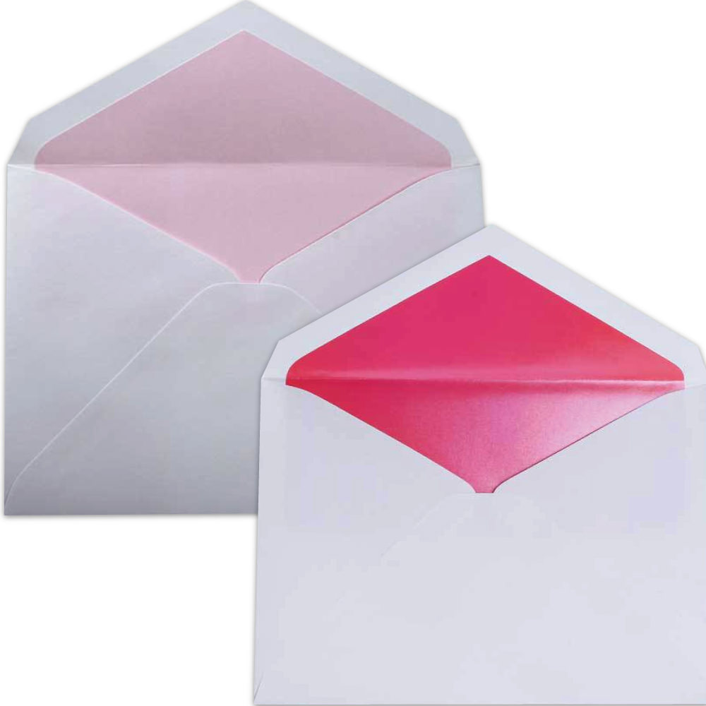 Pink Lined Wedding Envelopes