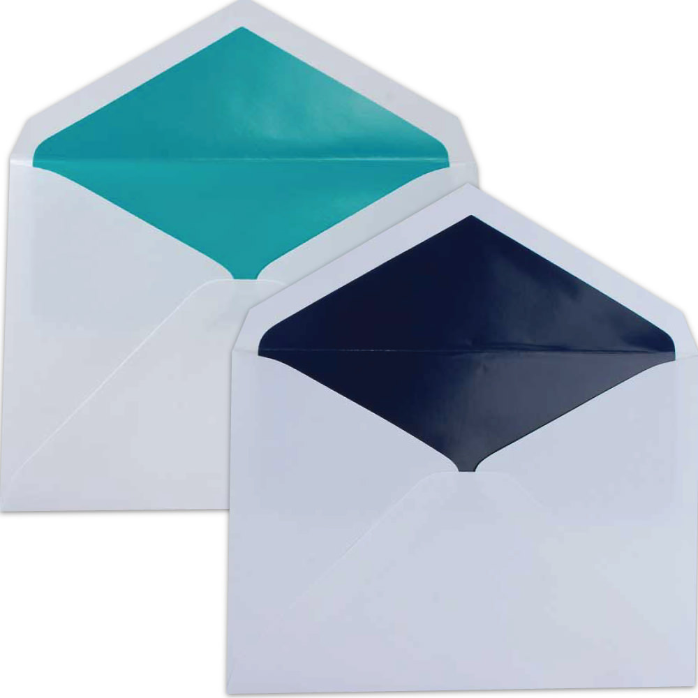 Blue Lined Wedding Envelopes