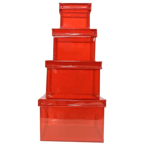 4-Piece Translucent Red Nesting Box Set