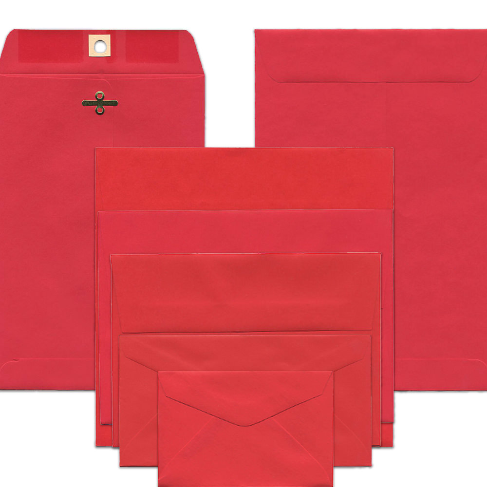 Red Recycled Brite Hue Envelopes & Paper