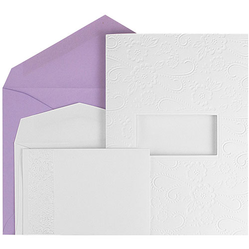 Floral Embossed Window Wedding Invitation Sets