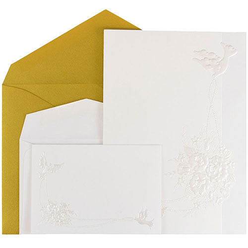 Embossed Doves Fanfold Wedding Invitation Sets