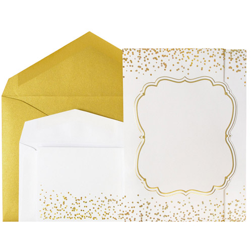 Gold Shimmer Fanfold Wedding Invitation Sets
