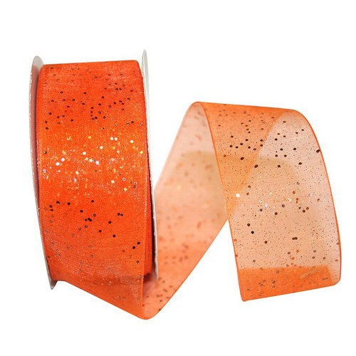 Orange Sheer Glitter Ribbon