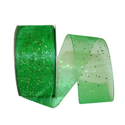 Green Sheer Glitter Ribbon