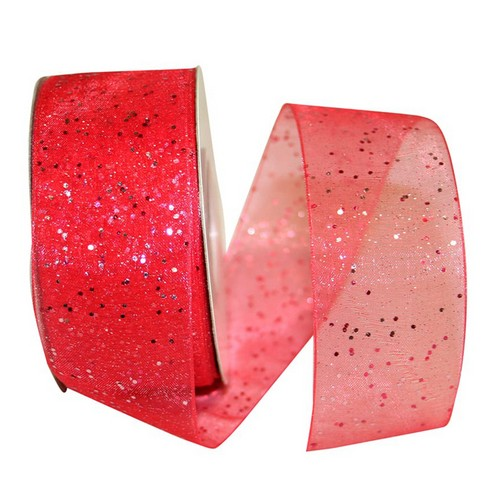 Red Sheer Glitter Ribbon